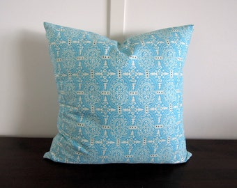 Organic Cotton Pillow Cover, Blue and White, Amy Butler, Toss Cushion, Turquoise  Print, 16x16