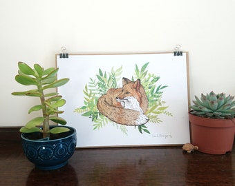 Green Fox || A5 or A4 Signed Print