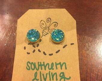 Turquoise Druzy Stud Earrings - Blue Druzy Stud Earrings - Aqua Druzy Stud Earrings - Druzy Stud Earrings