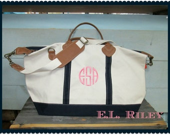 Monogrammed Canvas Weekender Duffle with Leather Straps, Personalized Canvas Duffle Bag, Monogrammed Luggage