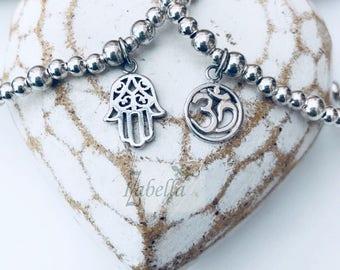 Sterling Silver HAMSA HAND Charm Bracelet