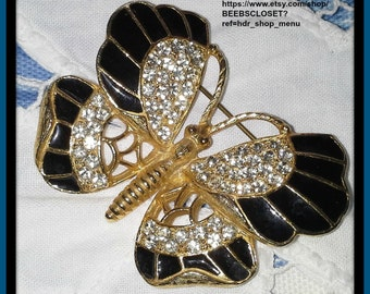 Vintage Weiss  Butterfly Rhinestones, Brooche, Black Enamel and Gold tone Signed  Great for Sweater, Scarf, Work Jacket Dress