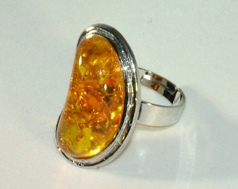 Natural Baltic Yellow Amber 925 Sterling Silver Gemstone Gem Kidney Set Ancient Celtic Ring Goth Witch Adjustable
