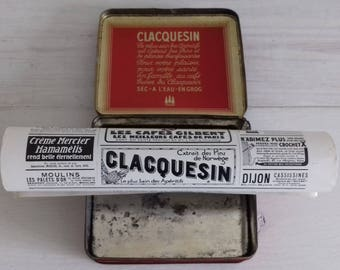 Red metal box and advertising page Clacquesin 1933 France vintage old french advertising, 1900's french old metal box