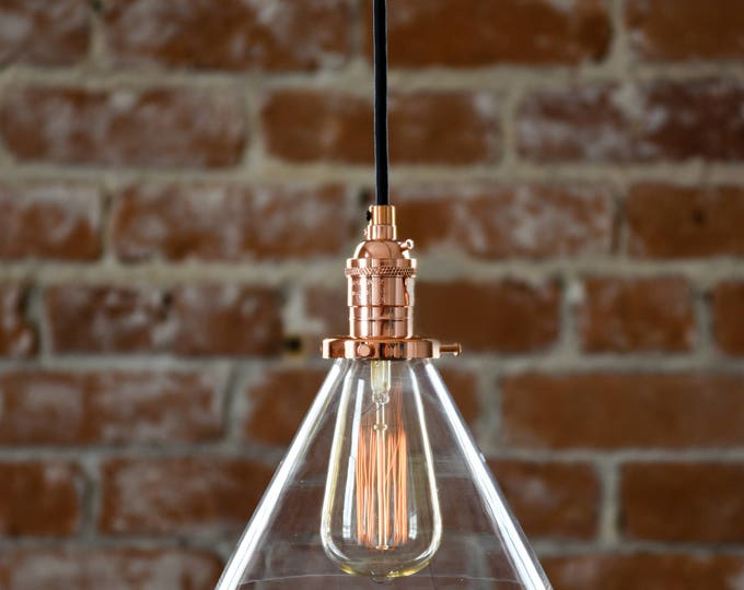 Copper Pendant Light Glass 7in. Cone Industrial Shade Round Canopy Kit Cloth Covered Wire