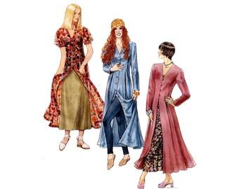 Redingote and Slip Dress Pattern 1990s V Neck Princess Seam Tea Length Romantic McCalls 6740 Plus Size Bust 38 40 42 Vintage Sewing Pattern