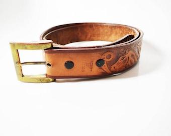 Vintage Handmade Mens Leather Belt Brown