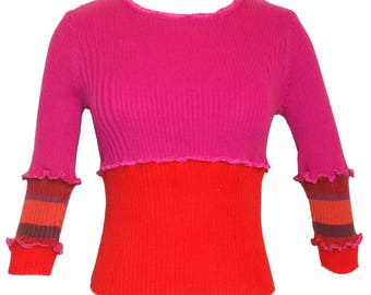 Upcycled Clothing Boho Red Sweater
