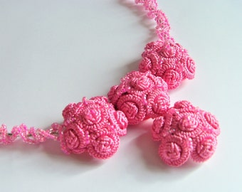 """Pink, romantic necklace, necklace, handmade necklace, """"Sweet rose""""."""