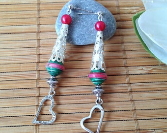 Bohemian Pearl paper and heart Silver earrings