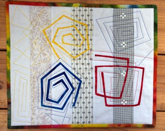 Swirls Art Quilt Wall Hanging, Spiral Shapes, Blue, Red, Yellow on White, Quiltsy Handmade