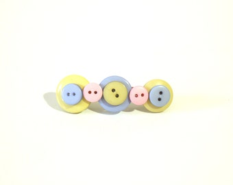 Button hair barrette in pastel green, blue and pink, button hair accessory, pastel hair pin, button hair pin, button hair clip