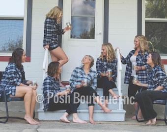 Monogrammed Flannel Shirts, Monogrammed Flannel Button Down, Monogrammed Shirt, Bridesmaid Gifts, Plaid Flannel Tunic Shirt, Buffalo Plaid