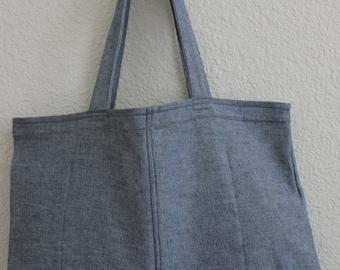 Large Denim Tote Bag/ Shopping Bag/ Upcycled Bag