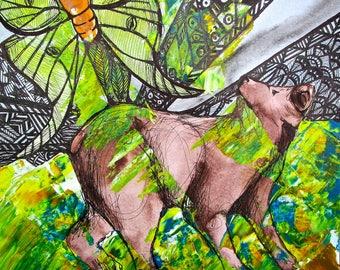 Luna Bear's Dream - framed ink jet print, gallery frame, original art, Dawn Patel Art, small works, art gifts, painting, nature, animals