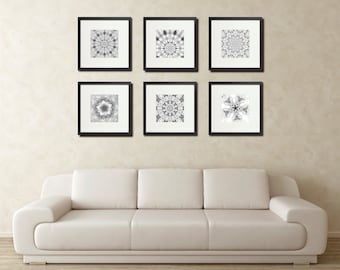 Six Snow Photos, Cabin Wall Art, Modern Art, Abstract Photography, Black and White, Geometry, Kaleidoscope, Bold Graphics