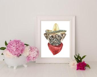 The Sombrero, Dog Print, Dog Art, Art Print