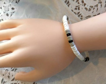 Vintage Shell Bracelet-Puka, Surfer-Beaded-Bead-White, Brown, Black, Grey-All Shipping is Only .99c For the Entire Order
