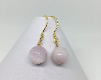 Pink Kunzite Earrings, Gold Sterling Silver, Gift For Her, Bridal, Wedding, Gift For Women, Bridesmaid Gift, Gold Earrings, Beaded Earrings