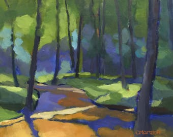 In the Woods  Small Landscape Oil Painting on Canvas