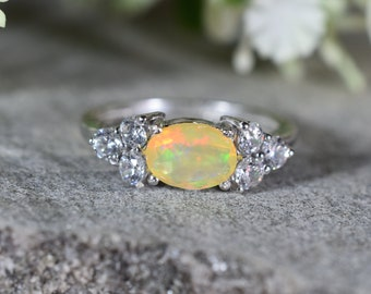 ETHIOPIAN Opal Ring  With Cubic Zircon , Silver ring, Gemstone Ring,Engagement Ring,Birthday Gift,Wedding Ring. Design N0 - RO-003