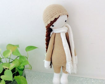 PRE- ORDER Baby Girl Crochet Doll, Handmade doll, Bedtime Handmade Doll, Long Hair Doll, Girl Lalylala, Amigurumi doll, Crochet Doll