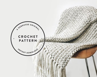 CROCHET PATTERN ⨯ Blanket, Afghan ⨯ Chunky Texture  ⨯ The Kenscoff Throw