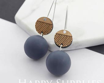 1 Pair (SBW29B) Silicone Balls Laser Cut Geometric Wooden Dangle Earrings - HEW Series - Ocean Sea Summer Beach