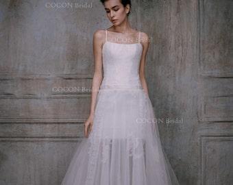 "Bohemian Wedding Dress Beach Wedding Gown Garden Wedding See through wedding gown Haute Couture dress - ""Infnito"""
