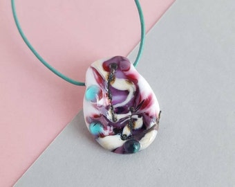 Lampwork glass leather sterling silver necklace