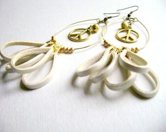 Long bohemian vegan eco leather fringe earrings ivory golden peace charm - Fairy - eco leather golden beads boho chic earrings.