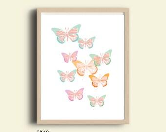 kids wall decor, printable kids wall decor, children art, Butterflies art print, butterfly art print, pastel kids wall art, instant download