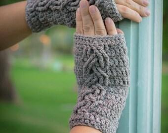 Wrist Warmers Crochet PATTERN - fingerless gloves - wrist warmers - Cable Stitch Wrist Warmers Crochet Pattern