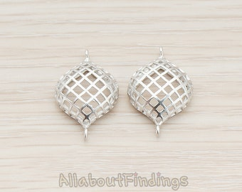 PDT527-01-MR // Matte Original Rhodium Plated Small Round Oval Net Connector Pendant, 2 Pc