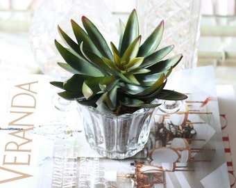 faux succulent in vintage glass scalloped planter