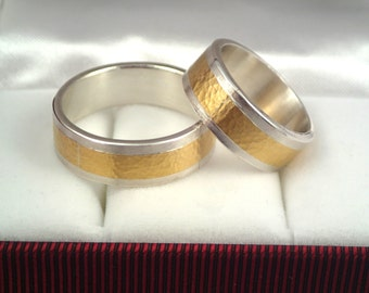 Beautiful gold and silver wedding bands with a hammered surface,  Two tone wedding rings, Textured wedding rings,