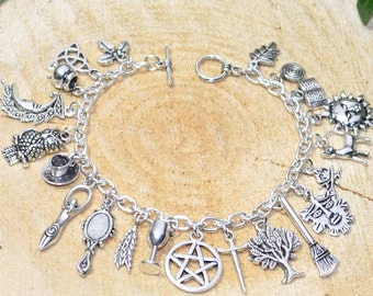 Witches Charm Bracelet - Handmade Pagan Jewellery for Wicca, Witch, Witchcraft, Pentacle, Goddess, Greenman
