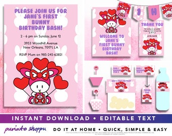 Baby Bunny 1st Birthday Party Printables / Invitation - INSTANT DOWNLOAD - Fully EDITABLE text