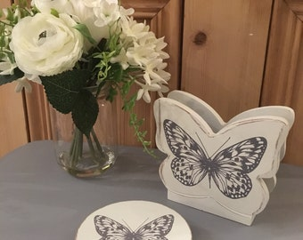 White & Grey Butterfly Drinks Coaster Set