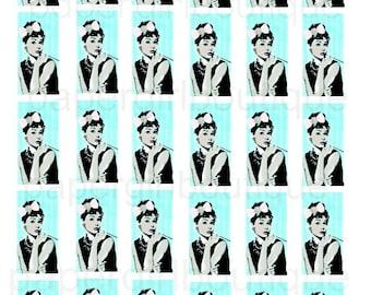 Audrey Hepburn 1x2 inch Rectangle Images Domino Tiles ....Instant Digital Download