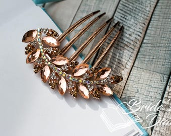 Wedding hair jewelry, rhinestones bridal hair comb rose gold