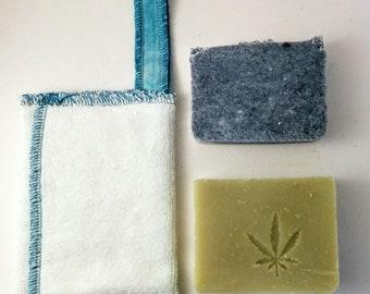 Zero waste Soap Saver and 2 soaps by Aquarian Bath - washcloth set - No Palm oil- vegan- unique design