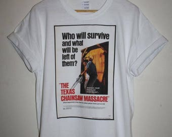texas chainsaw massacre horror movie t-shrit 1970s 70s classic leatherface poster