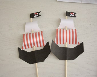 Pirate Ship Toppers (Boy's Red version) - Instant Download - Make your own Pirate Ship to add to your party decorations/cake or food.