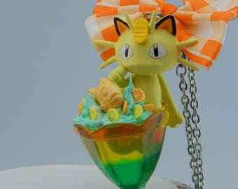Pokemon, Meowth, Meowth, ニャース, cocktail chain, with bow, for car, as decoration, key fob suitable, Japan fashion jewelry