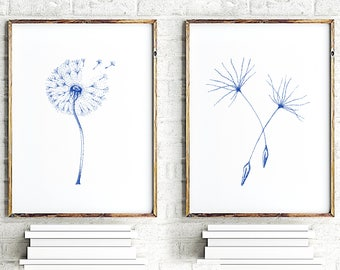 Teal Dandelion Wall Art, Set of 2 prints, Nursery Art print, Minimalist Print Art, Flowers Home Decor, Flower Painting, Floral Wall Decor