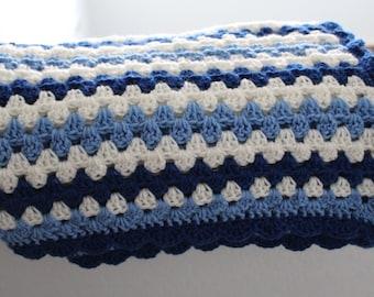 Crocheted granny stitch baby blanket