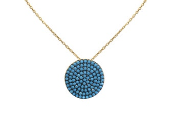 Pave Round Necklace with Turquoise Zirconia in Gold Plated Silver • Great for Casual or Your Big Night Out