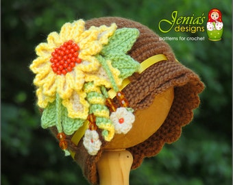 CROCHET PATTERN - Crochet Cloche Hat Pattern, Vintage Sunflower Cloche Hat Pattern for Baby, Toddler, Child, Teen, Adult (GIRLS)