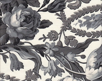 Blank Quilting Legacy Floral in Ivory and Black - Half Yard
